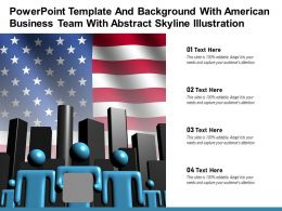 Powerpoint Template And Background With American Business Team With Abstract Skyline Illustration