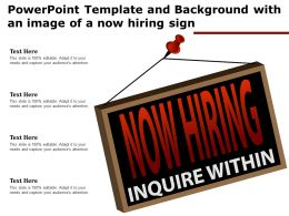 Powerpoint Template And Background With An Image Of A Now Hiring Sign