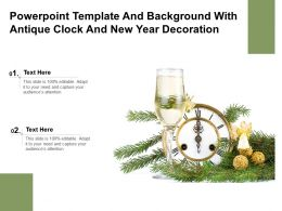 Powerpoint Template And Background With Antique Clock And New Year Decoration
