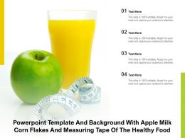 Powerpoint Template And Background With Apple Milk Corn Flakes And Measuring Tape Of The Healthy Food