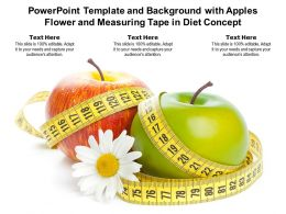 Powerpoint Template And Background With Apples Flower And Measuring Tape In Diet Concept