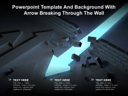 Powerpoint Template And Background With Arrow Breaking Through The Wall