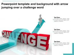 Powerpoint Template And Background With Arrow Jumping Over A Challenge Word