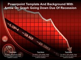 Powerpoint Template And Background With Arrow On Graph Going Down Due Of Recession