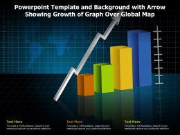 Powerpoint Template And Background With Arrow Showing Growth Of Graph Over Global Map