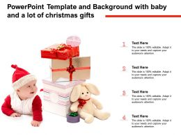 Powerpoint Template And Background With Baby And A Lot Of Christmas Gifts