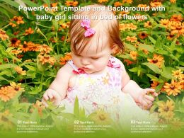 Powerpoint Template And Background With Baby Girl Sitting In Bed Of Flowers