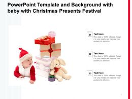 Powerpoint Template And Background With Baby With Christmas Presents Festival