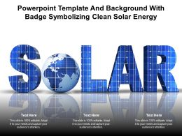 Powerpoint Template And Background With Badge Symbolizing Clean Solar Energy