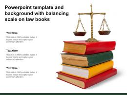 Powerpoint Template And Background With Balancing Scale On Law Books