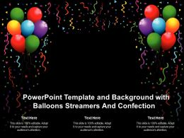 Powerpoint Template And Background With Balloons Streamers And Confection