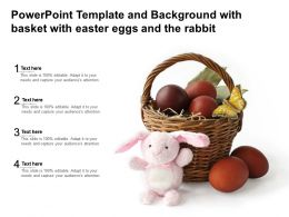 Powerpoint Template And Background With Basket With Easter Eggs And The Rabbit