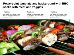 Powerpoint Template And Background With BBQ Sticks With Meat And Veggies