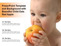 Powerpoint Template And Background With Beautiful Child Eats Red Apple