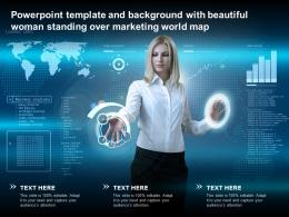 Powerpoint Template And Background With Beautiful Woman Standing Over Marketing World Map
