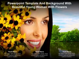 Powerpoint Template And Background With Beautiful Young Woman With Flowers