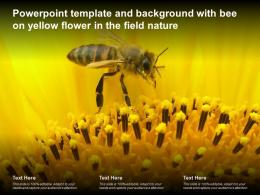 Powerpoint Template And Background With Bee On Yellow Flower In The Field Nature