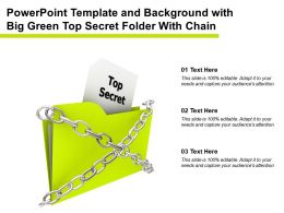 Powerpoint Template And Background With Big Green Top Secret Folder With Chain