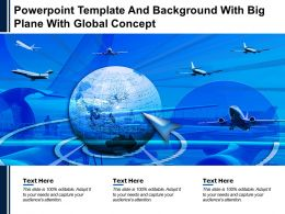 Powerpoint Template And Background With Big Plane With Global Concept