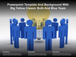 Powerpoint Template And Background With Big Yellow Classic Bulb And Blue Team