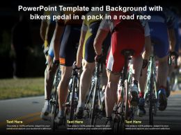 Powerpoint Template And Background With Bikers Pedal In A Pack In A Road Race