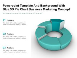 Powerpoint Template And Background With Blue 3d Pie Chart Business Marketing Concept