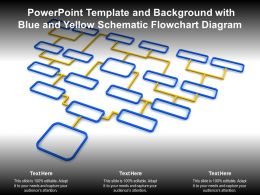 Powerpoint Template And Background With Blue And Yellow Schematic Flowchart Diagram