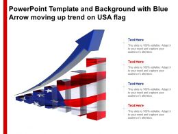 Powerpoint Template And Background With Blue Arrow Moving Up Trend On USA Flag
