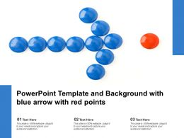 Powerpoint Template And Background With Blue Arrow With Red Points