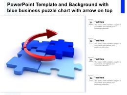 Powerpoint Template And Background With Blue Business Puzzle Chart With Arrow On Top