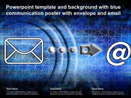 Powerpoint Template And Background With Blue Communication Poster With Envelope And Email