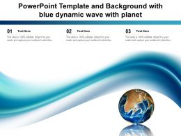 Powerpoint Template And Background With Blue Dynamic Wave With Planet