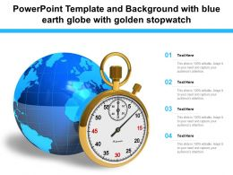 Powerpoint Template And Background With Blue Earth Globe With Golden Stopwatch