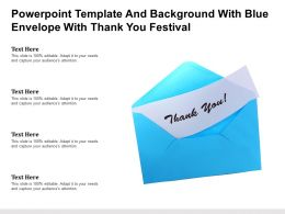 Powerpoint Template And Background With Blue Envelope With Thank You Festival