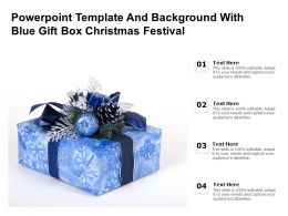 Powerpoint Template And Background With Blue Gift Box Christmas Festival