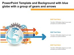 Powerpoint Template And Background With Blue Globe With A Group Of Gears And Arrows