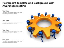 Powerpoint Template And Background With Blue Little Mens Turning Together An Orange Gear