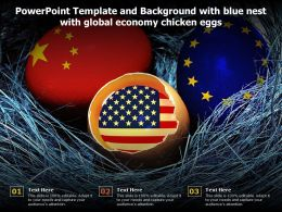 Powerpoint Template And Background With Blue Nest With Global Economy Chicken Eggs