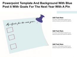 Powerpoint Template And Background With Blue Post It With Goals For The Next Year With A Pin