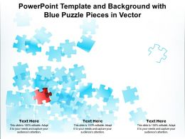 Powerpoint Template And Background With Blue Puzzle Pieces In Vector
