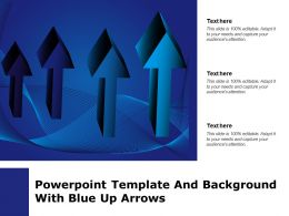 Powerpoint Template And Background With Blue Up Arrows