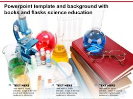 Powerpoint Template And Background With Books And Flasks Science Education
