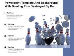 Powerpoint Template And Background With Bowling Pins Destroyed By Ball