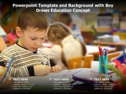 Powerpoint Template And Background With Boy Draws Education Concept
