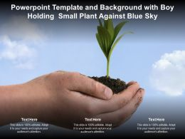 Powerpoint Template And Background With Boy Holding Small Plant Against Blue Sky