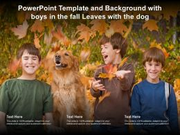 Powerpoint Template And Background With Boys In The Fall Leaves With The Dog
