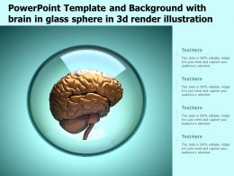 Powerpoint Template And Background With Brain In Glass Sphere In 3d Render Illustration
