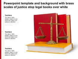 Powerpoint Template And Background With Brass Scales Of Justice Atop Legal Books Over White