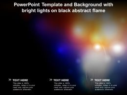 Powerpoint Template And Background With Bright Lights On Black Abstract Flame