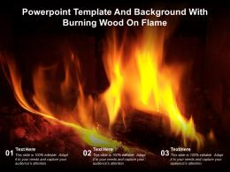 Powerpoint Template And Background With Burning Wood On Flame